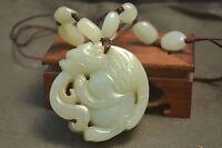 Chinese Vintage Hetian Jade Auspicious Winged Dragon Pendant Amulet Carving LLZB