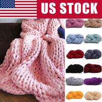 HOT Chunky Wool Yarn Super Soft Bulky Arm Knitting Wool Roving Crocheting DIY US