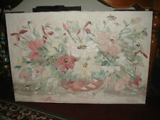 Stunning Helen Wendle Flower Painting On Canvas-Large-Thick Heavy Paint Canvas