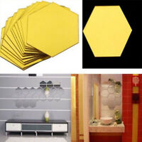 12Pcs 3D Mirror Hexagon Vinyl Removable Wall Sticker Decal Home Decor Art DIY L
