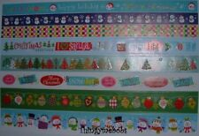 RED/GREEN/BLUE/WHITE CHRISTMAS GLITTER PAPER BORDER STICKERS - 8 DESIGNS