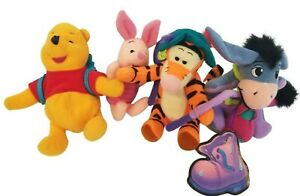 Vtg 1998 Winnie Pooh & Friends Fishing Mini Plush Tigger Piglet Eeyore Set of 4