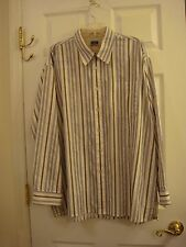 Haggar ForeverNew Cotton Stripped Long Sleeve Button Dress Shirt Men's Size XXL