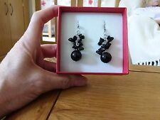 Brand new Tibetan silver dangling earrings with lots real black onyx stones +box