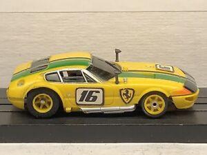 Aurora AFX G-Plus Ferrari Daytona #1736 Yellow/Green/Black HO SLOT CAR