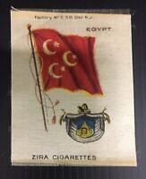 Vintage Zira Cigarettes Egypt Flag Tobacco Card Silk