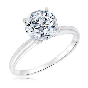 Classic Four Prong 2.00CT Round Solitaire Engagement Ring 9K White Gold Over
