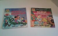 Two Vintage Disney Read Along Books Only Mickey and Beanstalk Alice Wonderland