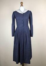 Vintage Laura Ashley Polka Dot Prairie Dress Collar Blue Size EU 36 US 8 UK 10