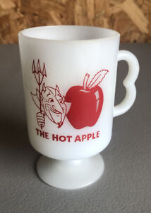 Milk Glass Chili Bowl with Hand Painted Apples