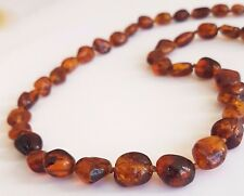 GENUINE  HEALING COGNAC BALTIC AMBER NECKLACE 55 cm