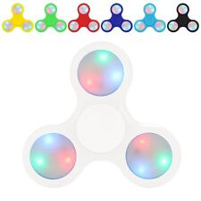 White Orange Pink Black Green Blue LED Light Up Tri Spinner Fidget Hand FLASHING