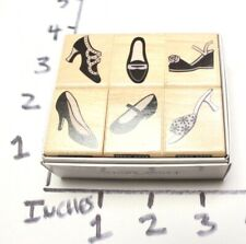 Wooden RUBBER STAMP Hero Arts Collection Fancy Shoes Boots Slippers - Boxed Set