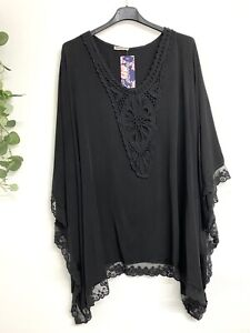 New ladies Lagenlook Black Lace Kaftan tunic top Size Onesize Free Size 16 - 26