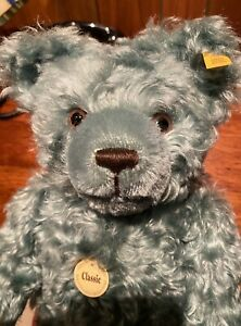 "Steiff Green Mohair Teddy 16"" with German Factory Tags and Growler #005312"