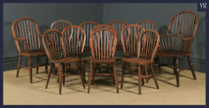 Antique Set of 12 Victorian Ash & Elm Windsor Stick & Hoop Back Kitchen Chairs