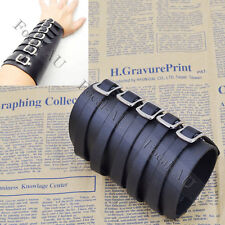 Black Punk Arm Armor Cuff 5 Buckles Black Leather Bracer 1PC  New Free Shipping