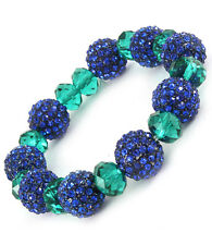 Crystal Glass Bead Ball Stud Stretch Bracelet Blue Green New Fashion Jewelry
