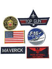 Maverick Top Gun Fancy Dress Iron on Patch -  Set of 6 Embroidered badges 01