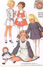 1970s Vintage McCalls Sewing Pattern 2530 Toddler Girls Raggedy Ann Dress Sz 6x
