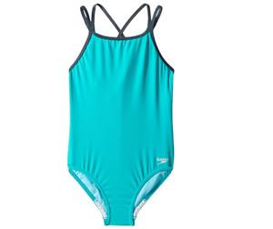 Speedo Kids Crossback One-Piece Swimsuit New Turquoise Size 14 0997