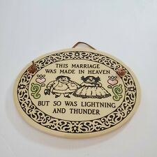 Trinity Pottery Hanging Plaque - This Marriage was Made in Heaven - Made in USA