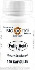 Bio-Tech Folic Acid 5 mg 100 caps - Exp Date: 06/2019