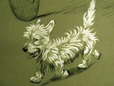 Cecil Aldin 1910 WEST HIGHLAND TERRIER TROTTING ACROSS STREET Dog Print Matted