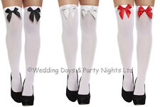 Sexy White Hold Ups Bow Stockings Ladies Fancy Dress Nurse Cop Red Riding Hood