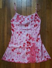 VICTORIA'S SECRET PINK FLORAL BABYDOLL NIGHTGOWN CAMI NIGHTIE LACE SATIN SZ XS
