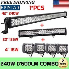 "42Inch LED Light Bar Combo + 20in +4"" CREE PODS OFFROAD SUV 4WD ATV FORD JEEP 40"