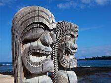 Art Imprimé Poster Photo icône de la culture Hawaii Tiki Hawaiian carving lfmp1178