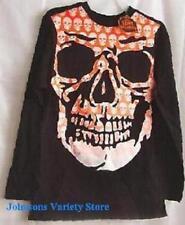 Kids Unisex Skull design T-shirt Long Sleeve Black goth Gothic Sz Lg (10) Youth