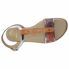 Size 13 (EU 45 / UK 11) Orange and Metallic Flat TBar Sandals Made in Spain