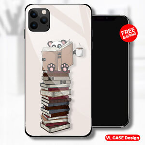 Panda Reading Books Coffe Glass Phone Case Samsung Huawei iPhone Xiaomi Gif Idea