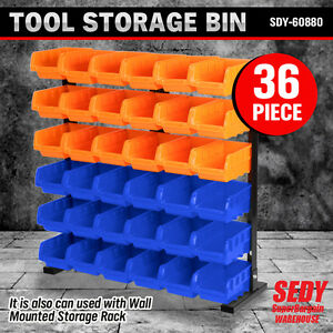 36 PC Bin Stand / Wall Mounted Storage Solution Rack Nuts Bolts Organiser Parts