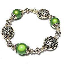 Green Stretch Bracelet Beaded Bangle Miracle Bead Tibetan Silver Style