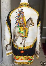 vintage GIANNI VERSACE COUTURE silk shirt INDIANS print size USA 8 - ITA 42