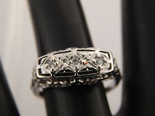 .15 tcw Diamond Antique Three Stone Ring 18k G/SI Old Mine Cut ART DECO Filigree