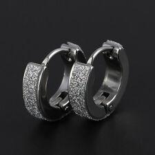 Fashion Punk Mens Women Crystal Stainless Steel Ear Hoop Stud Huggies Earrings