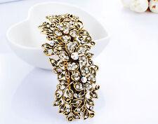 Metal Hair Barrette Clip Silver/Gold Blue Crystal Pink Diamante Rhinestone Clip