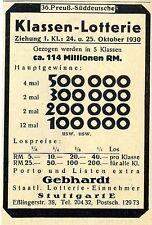 Gebhardt Stuttgart E. 36. Preuß.- Süddeutsche Klassen- Lotterie Annonce 1930