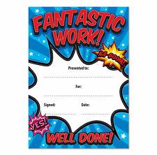 'Fantastic Work' Teacher Awards Certificates - 16 A6 Cards School Children Kids