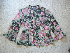 Womens Blouse Floral Top Shear Over  Casual Positive Attitude 3/4 Sleeves size 6