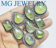 500 PCs Lot Natural Prehnite Gemstone .925 Sterling Silver Overlay Rings