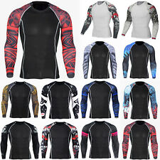 Mens Base Layer Long Sleeve T-Shirt Gym Sports Workout Compression Muscle Tops