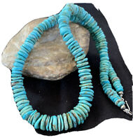 Navajo Native American Graduated Turquoise Sterling Silver Necklace 22in 944