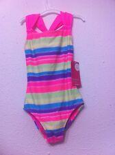 NWT Size 4-5  Girl Xhilaration SWIM Bathing Suit Racerback Pink Stripes UPF 50+