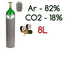 NEW 82% Argon 18% CO2 MIX 8 Liter 200 Bar Pure Welding Gas + Regulator
