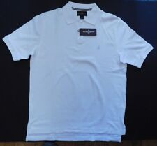 NWT Black & Brown (Lord & Taylor), White Short Sleeve Polo, Size Medium (SSP-83)